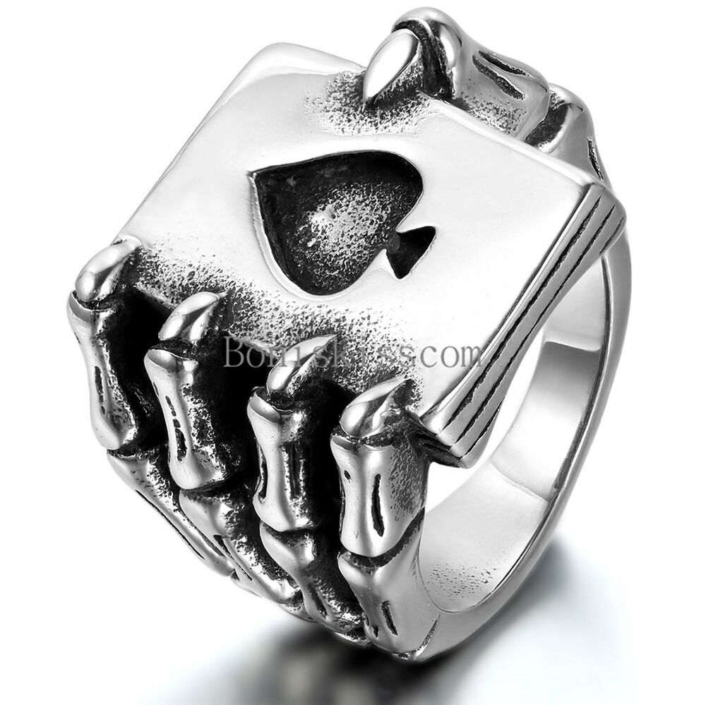 Mens Stainless Steel Ring Gothic Skull Hand Claw Heart