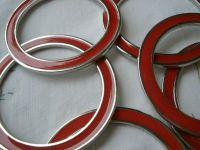 Flat metal O-rings purse handbag handles red enamel look ...