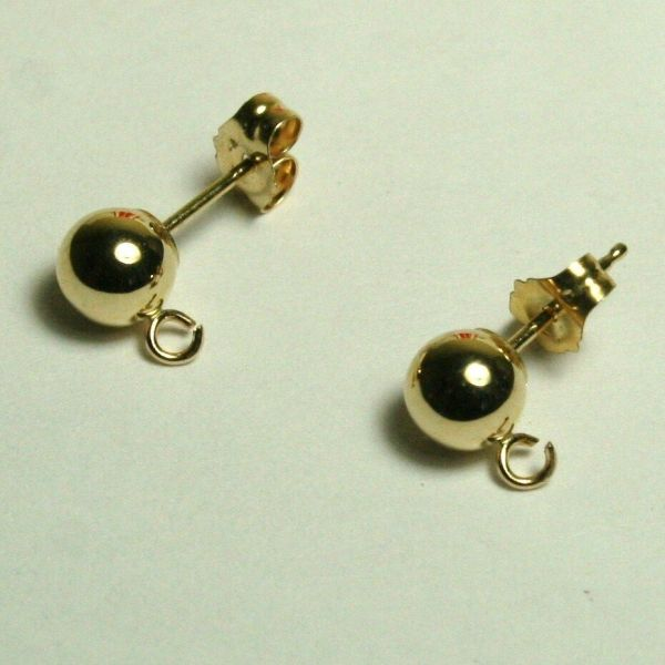 1 Pair 14k Solid Yellow Gold 6mm Ball Stud Earrings Findings
