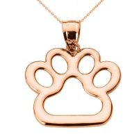 New Fine 10k Rose Gold Dog Paw Print Pendant Necklace Pet