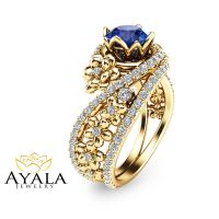 14K Gold Natural Sapphire Engagement Ring Unique Yellow ...