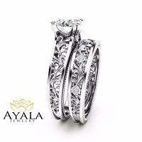 Unique Diamond Bridal Set 14K White Gold Engagement Rings ...
