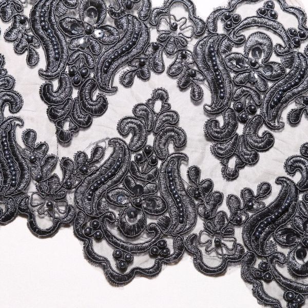 Bridal Black Embroidered Wedding Lace Beaded Pearl