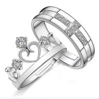 Silver Prince Princess Queen Couple Rings Wedding Band His