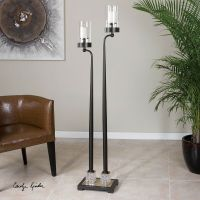 "LARGE 63"" TALL FLOOR PILLAR CANDLE HOLDER DARK BRONZE ..."