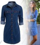 Jeans with Denim Shirt Dresses Women