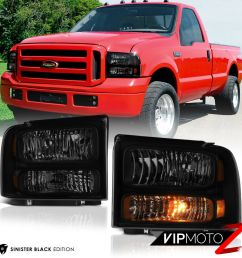 details about 1999 2004 ford f250 f350 superduty sinister black conversion kit head lights [ 1000 x 1000 Pixel ]