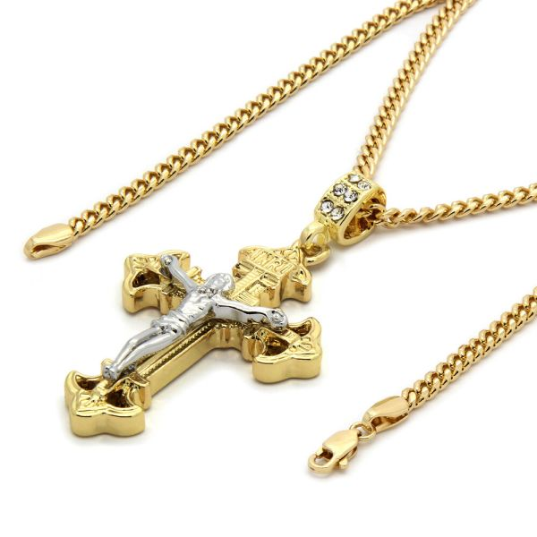 Mens 14k Gold Plated Jesus Inri Cross Pendant 30