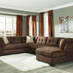 3 Piece Microfiber Sectional Sofa With Chaise Striped Throws Ashley