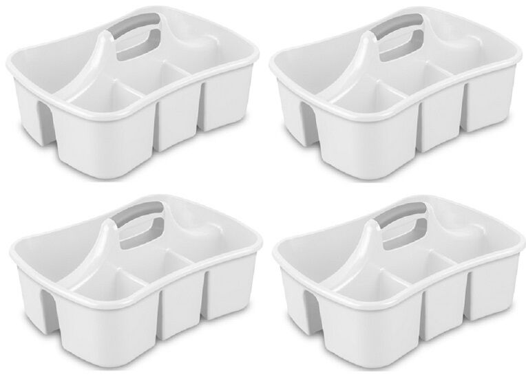 4 Ea Sterilite 15888006 White 4 Compartment Cleaning