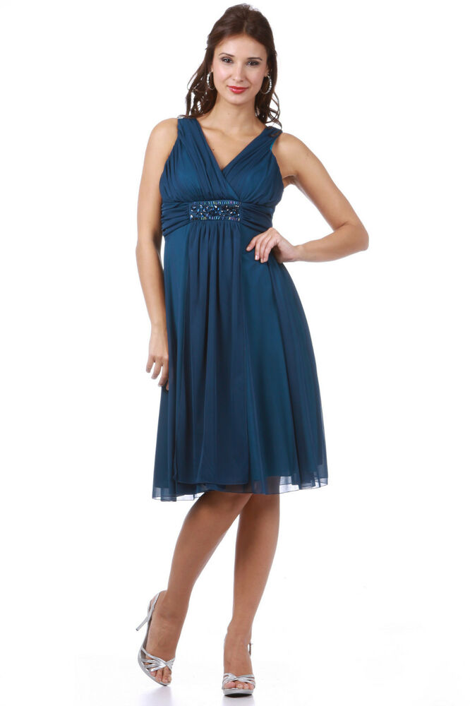 TheDressOutlet Formal Cocktail Plus Size Short Pleated