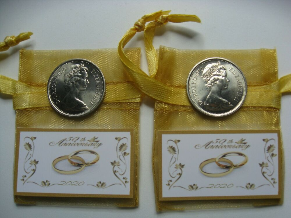 Pair 2 1968 5p/1/- Coins CORRECT DATE 50th Golden Wedding