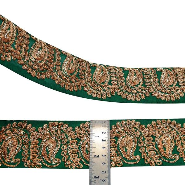 Green Metallic Embroidered Fabric Trim Ribbon Sewing Craft