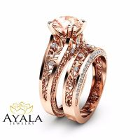 14K Rose Gold Morganite Engagement Ring Set Unique 2 Carat