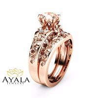 Morganite Wedding Ring Set 14K Rose Gold Morganite Rings ...