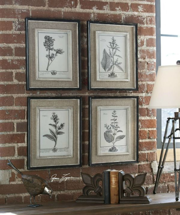 Set Of Four Gray Flower Prints Framed Wall Art