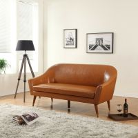 Mid Century Modern Bonded Leather Living Room Sofa (Camel ...