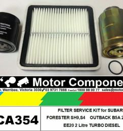 details about filter kit oil air fuel for subaru forester outback b5a ee20 2l turbo diesel [ 1000 x 804 Pixel ]
