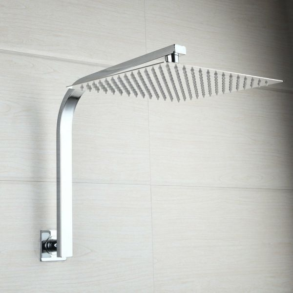 Wall Mounted Bathroom 8 Inches Rain Square Shower Head Withgooseneck Arm