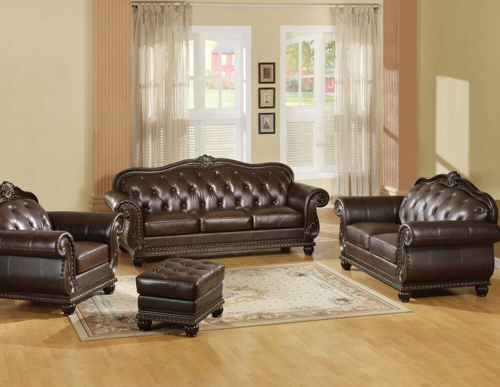 Brown Traditional Sofa, LoveSeat & Chair Ottoman Tufted