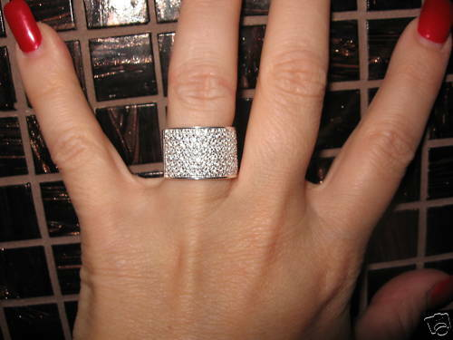 Sterling Silver Micro Pave CZ Cigar Band Wide Ring 2 CT
