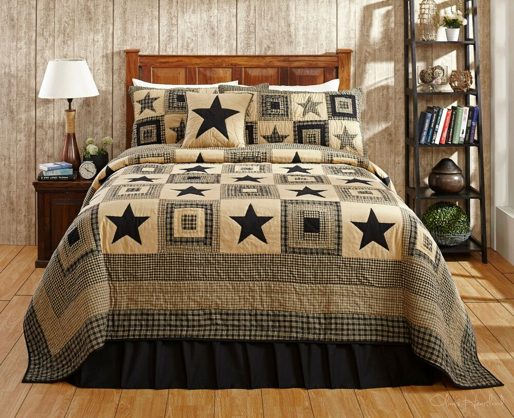 7PC COLONIAL STAR BLACK CALIFORNIA KING BED QUILT SET By