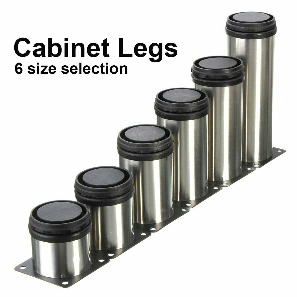chair rubber feet protectors chromcraft kitchen parts 4pcs adjustable cabinet legs stainless steel round stand holder new | ebay