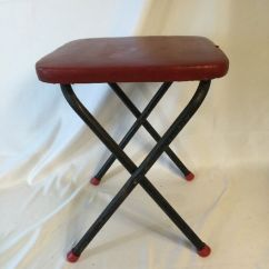 Vintage Cosco Step Stool Chair Red Retro Kitchen Table And Chairs 1950s Folding Foot Side | Ebay