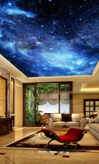 Galaxy Stars Night Sky Ceiling Wall Mural Wall paper Decal ...