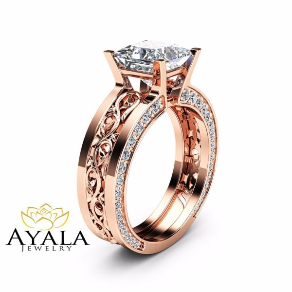 Unique Princess Cut Moissanite Ring 14K Rose Gold