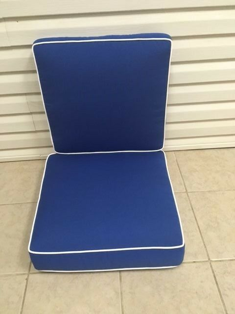 patio chair pads cotton covers for weddings 2 pc frontgate cobalt blue verand dining thick outdoor cushion 21x21 | ebay