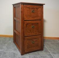 Authentic Mission 3 Drawer File Cabinet Solid Oak #330