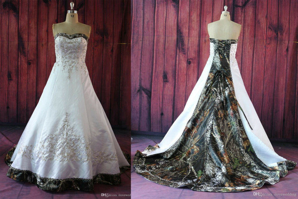 Fashion White Camo Wedding Dresses Embroidery Camouflage