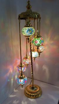 Turkish Floor Lamp, Hand Made 7 Glass and 'GOLD' Moroccan ...