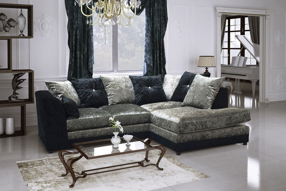 cheapest sofa deals uk white leather bed canada new dylan glitz crushed velvet corner in black/silver ...