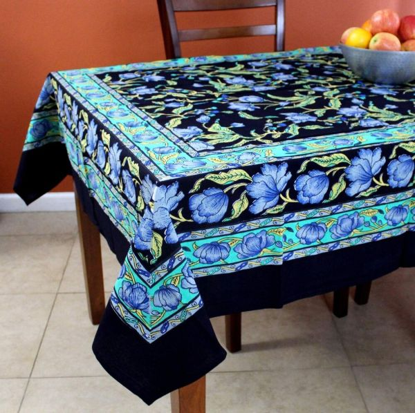 Handmade French Floral Print Cotton Square Tablecloth 60