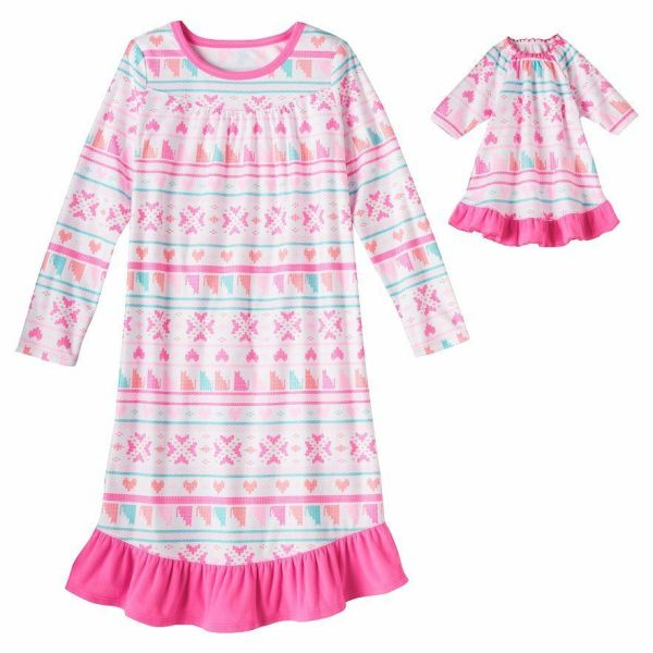 Girl 414 and Doll Matching Nightgown Pajama Clothes