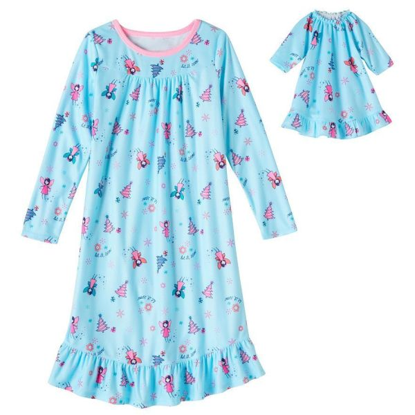 Girl 414 and Doll Matching Christmas Nightgown Pajama