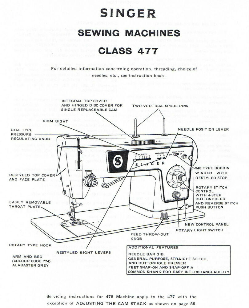 Singer 477 478 Sewing Machine Service Repair Manual and