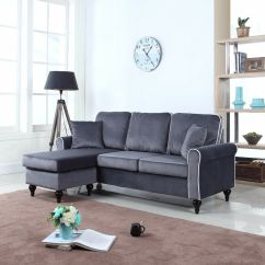 Modern Grey Sofa With Chaise Costco Leather Reclining Traditional Small Space Velvet Sectional ...