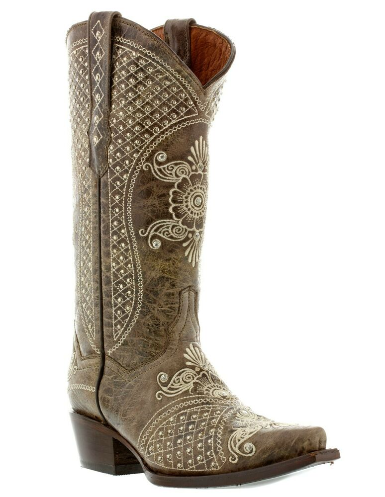Womens distressed brown wedding leather cowboy boots