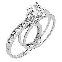 2 Ct Princess Cut 2 Piece Engagement Wedding Ring Band Set ...
