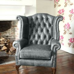 Leather Wing Chairs Uk Medline Transport Chair Chesterfield Queen Anne High Back In Vintage Grey | Ebay