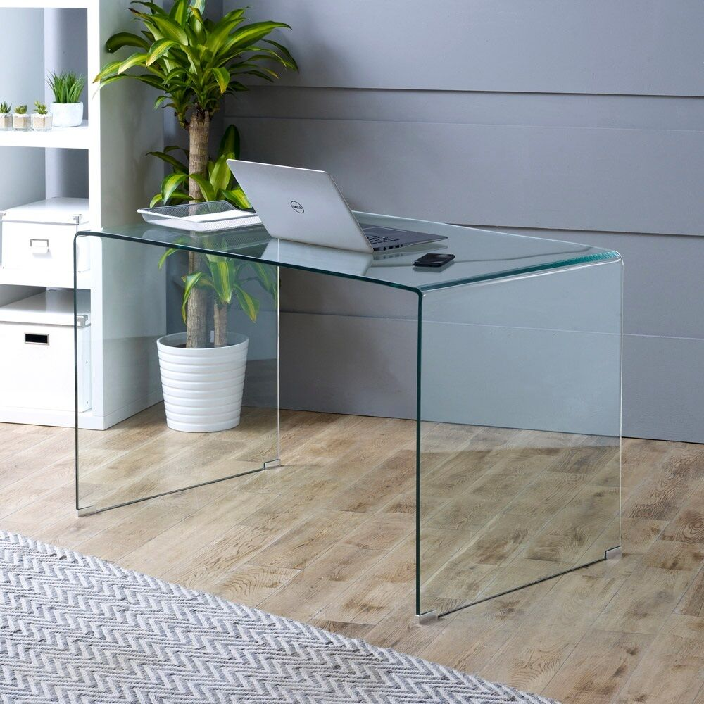 Geo Glass Computer Office Study Desk Large Clear Toughened