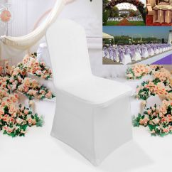 Spandex Lycra Chair Cover For Wedding Party Indoor Wicker With Ottoman 100pcs White Flat Front Covers Uk | Ebay