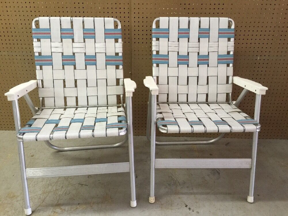 webbed folding lawn chairs best booster high chair for 2 year old pair of vintage aluminum - white blue mid century | ebay