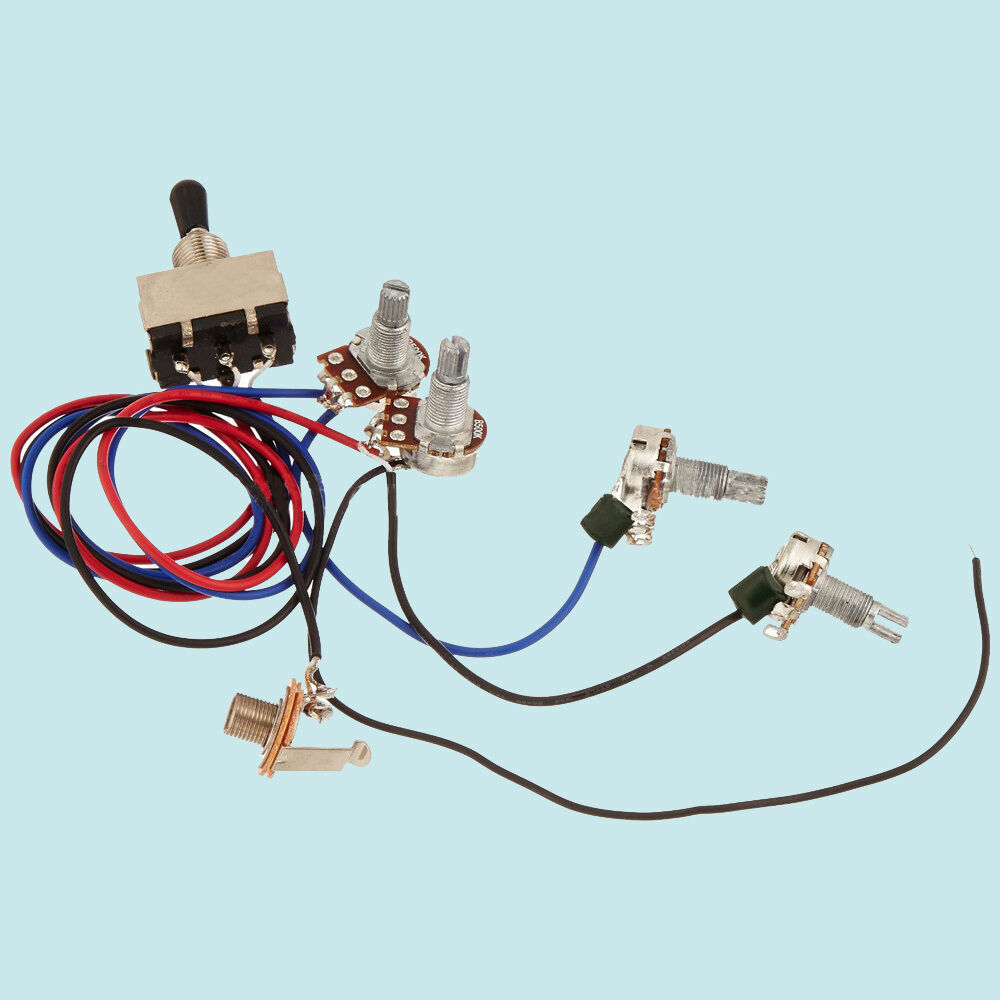 hight resolution of details about guitar wiring harness kit 2v2t 3 way toggle switch for gibson lespaul input jack