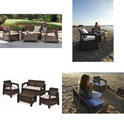 All Weather Garden Chairs Stressless Reviews Corfu 4 Piece Set Outdoor Patio Furniture W Details About Cushions Brown
