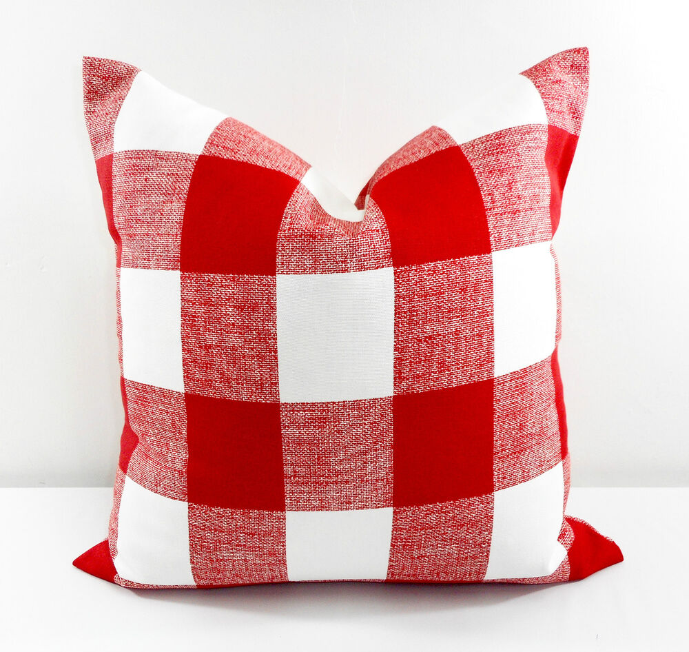 Red pillow cover Checkered Red and White Christmas Decor