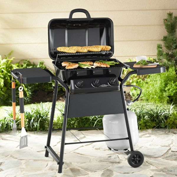 Gas Grill 3 Burner Bbq Backyard With Side Shelves Barbecue Outdoor Cooking